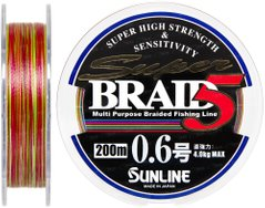 Шнур Sunline Super Braid 5 200м, 0,128 мм, 0.6, 4,0